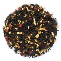 Herbata czarna Harmonia Smaków z dodatkiem jarzębiny, skórki pomarańczy i kwiatu pomarańczy.
